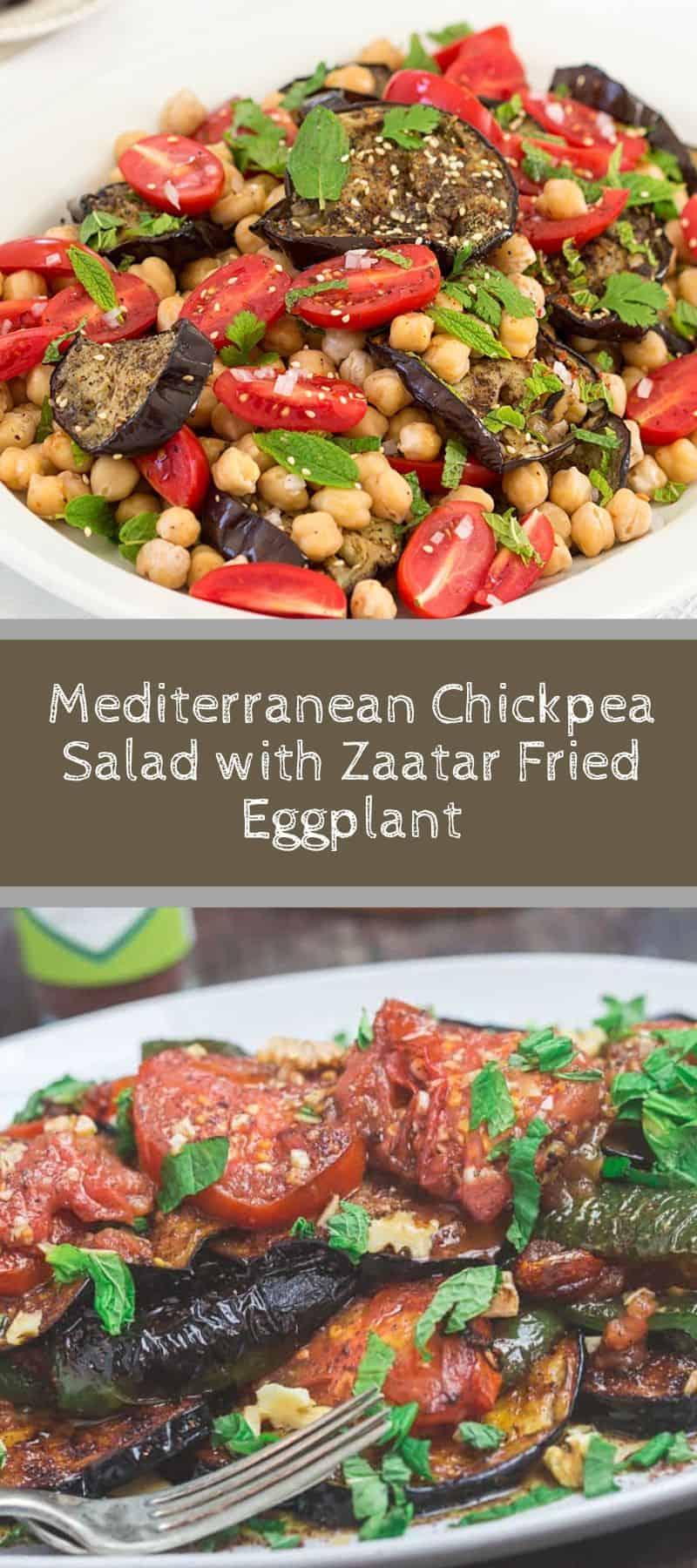 Mediterranean Chickpea Salad with Zaatar Fried Eggplant 3