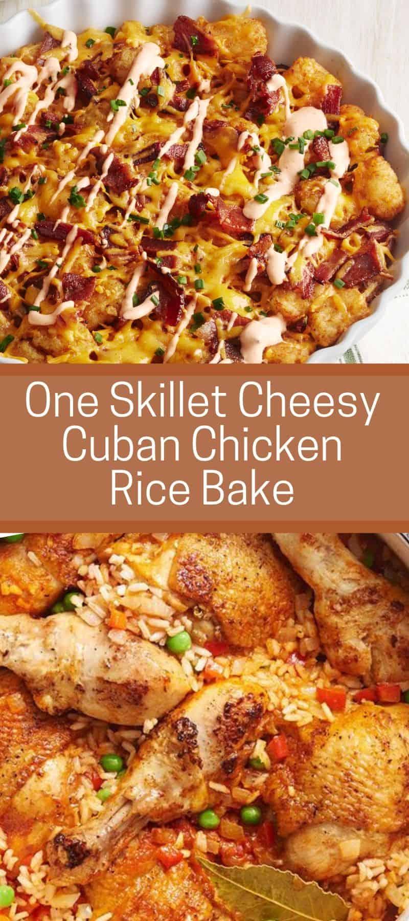 One Skillet Cheesy Cuban Chicken Rice Bake 3